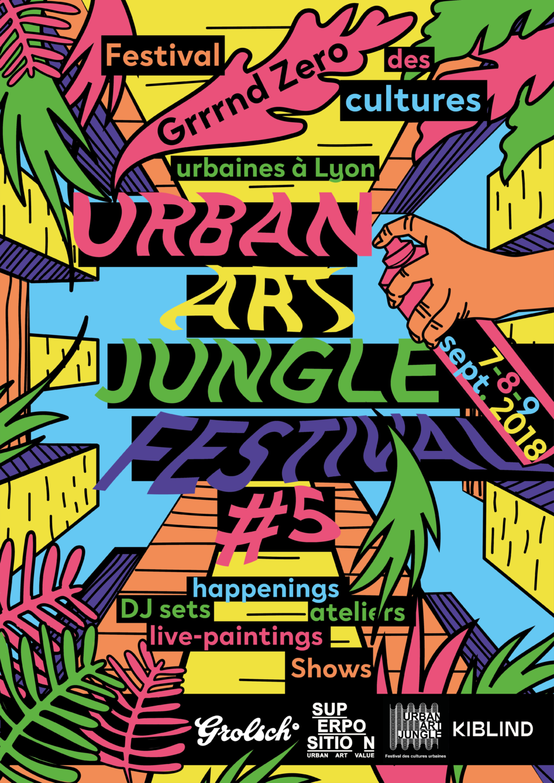 Affiche réalisée sous illustrator et tablette graphique, dans le cadre du concours Urban Art Jungle, par Superposition Lyon. Constance Rollet, Stanzy Studio, Graphisme, Print,